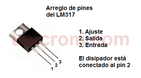 Distribución de pines del regulador LM317