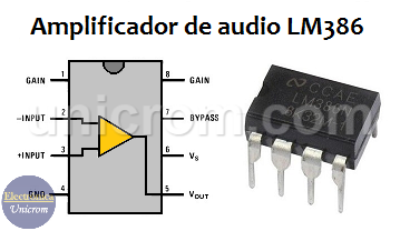 Distribución de pines Amplificador de audio LM386