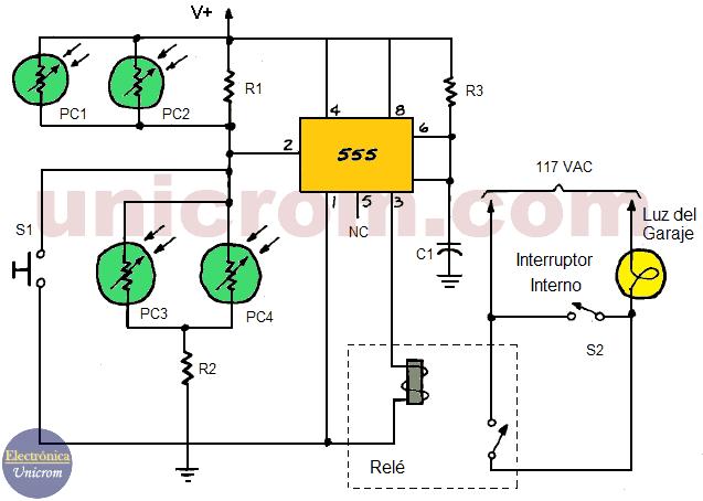 Controlador automático de luz para garaje con 555 y LDRs