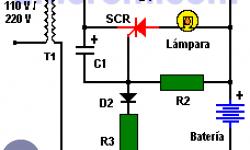 Luz de emergencia con SCR y batería recargable