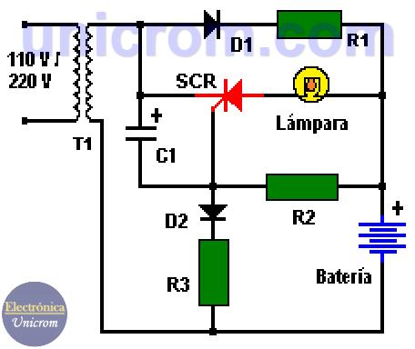 Luz de emergencia con SCR con batería recargable