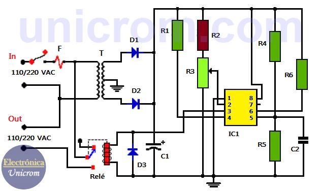 Circuito Zapper : Luz nocturna automática con y relé electrónica unicrom