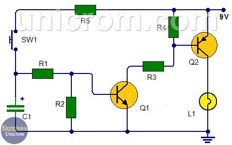 Como hacer una Luz temporizada con transistores y botón pulsador