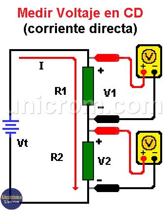 Medir voltaje en DC (corriente directa)