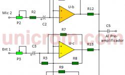 Mezclador de audio de 4 canales con LM3900 (circuito)