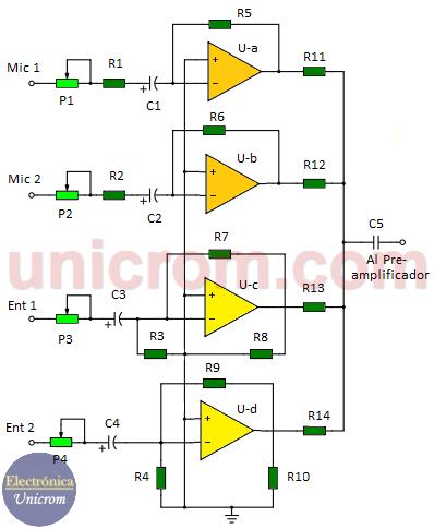 Mezclador de audio de 4 canales con LM3900