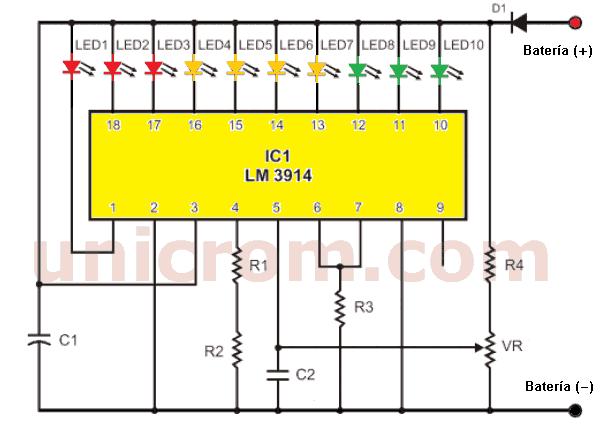Monitor de carga de batería con LM3914