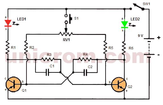 Multivibrador con 2 transistores, 2 LEDs y botón pulsador