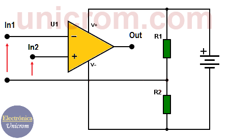 Amplificador Operacional con fuente única con resistencias