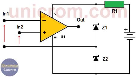 Amplificador Operacional con fuente única con diodos Zener