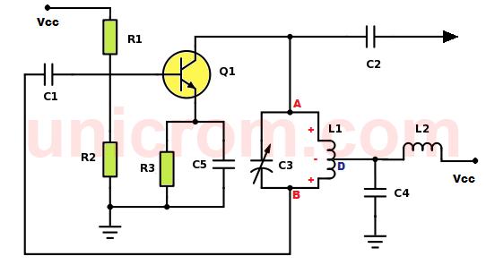 Osciladores Hartley con transistor, implementados con bobina de derivación central