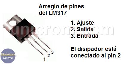 Distribución de pines del regulador de voltaje LM317