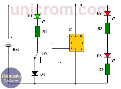 Circuito probador de IC 555