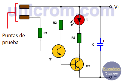 Probador de continuidad con transistores