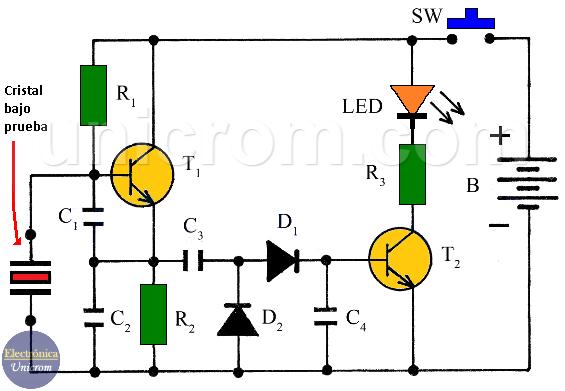 Probador de cristales con dos transistores