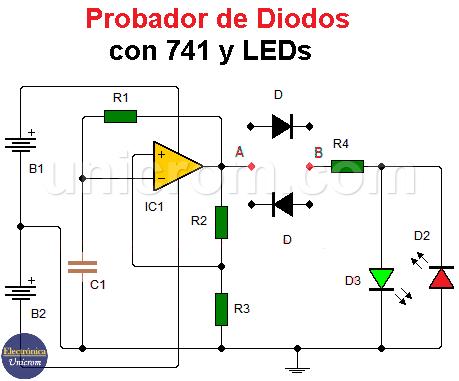Probador de diodos con 741 y LEDS