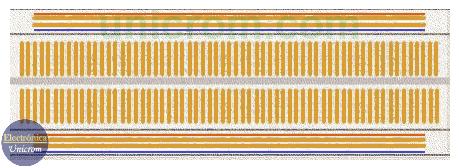Imagen de la parte interna de una Protoboard - Breadboard - Electrónica Unicrom