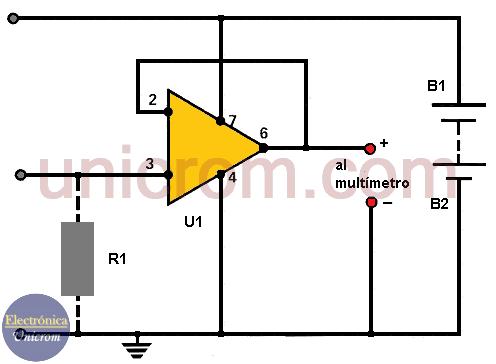Punta de 100,000 megaohmios para multímetro (Incrementar impedancia de entrada del multímetro)