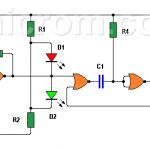 Punta lógica con CD4001 (circuito impreso)