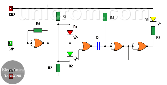 Punta lógica con CD4001 (4 compuertas NOR de 2 entradas)