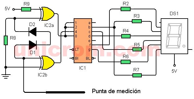 Punta lógica con display 7 segmentos