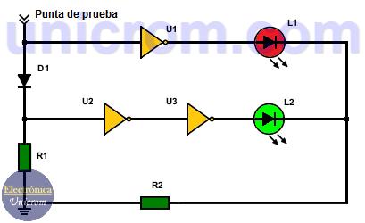 Punta lógica con inversores y diodo (sonda lógica)