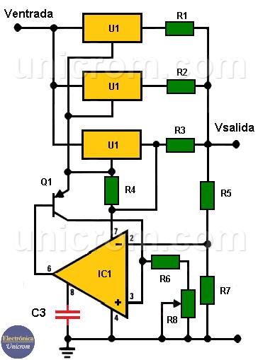 Fuente de voltaje variable 4 amp con tres LM317 y LM308