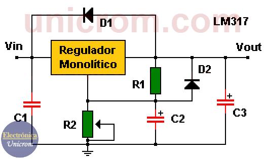 Regulador de salida variable con LM117, LM217, LM317 con diodos de protección
