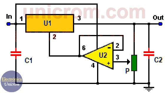 fuente de voltaje variable con 7805 y 741 (7 a 30 voltios)