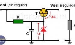 Regulador de voltaje con diodo zener y transistor de paso