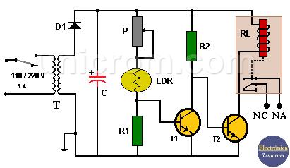 Relé controlado por LDR / fotorresistencia
