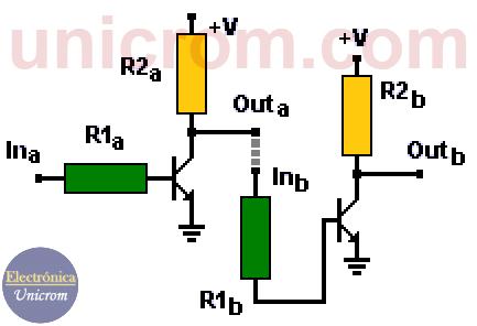 Interconexión entre circuitos con tecnología RTL (dos inversores en cascada) - Electrónica Unicrom