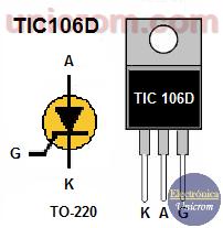 Distribución de pines del SCR TIC 106D