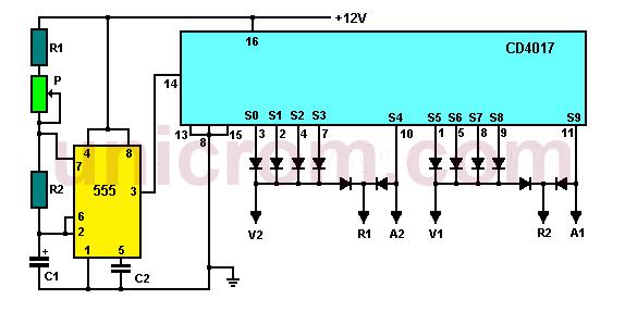 Semáforo electrónico con 555 y CD4017