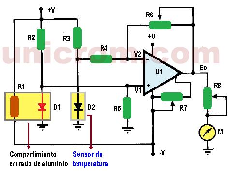 Medidor velocidad del viento con diodo y 741 (Anemómetro)