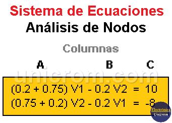 Sistema de ecuaciones en Análisis de Nodos