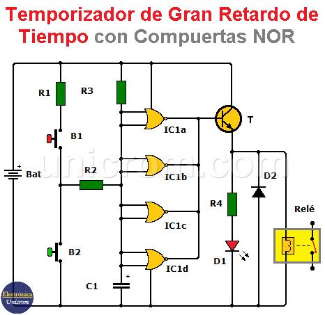 Temporizador de gran retardo de tiempo con CD4001 (compuerta NOR)