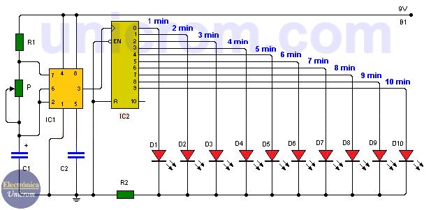 Temporizador de larga duración con 555 y 4017 con tiempos de 1 a 10 minutos