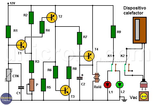 Termostato electrónico implementado con termistor y transistores