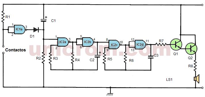 Timbre electrónico con 4011