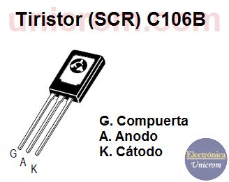 Distribución de pines o patillas del Tiristor (SCR) C106B