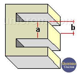 Núcleo en forma de - E - de un tranformador de transformador - Electrónica Unicrom