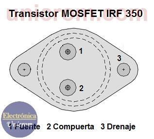 Configuración de pines (patillas) del transistor MOSFET IRF350
