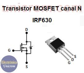 Configuración de pines (patillas) del transistor MOSFET canal N IRF630