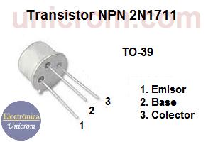 Transistor NPN 2N1711 - Distribución de pines o patillas
