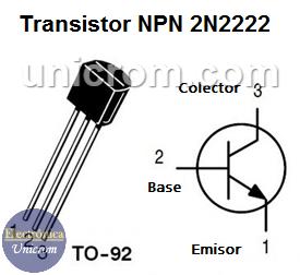 Distribución de pines del transistor NPN 2N2222