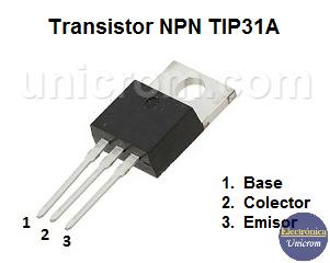Transistor NPN TIP31A - Distribución de pines