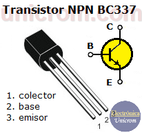 Transistor NPN BC337 - Distribución de pines o patillas