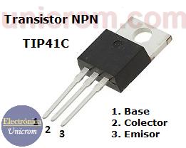 Transistor NPN TIP41c - Distribución de pines