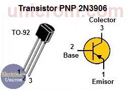 Transistor PNP 2N3906 - distribución de patillas / pines